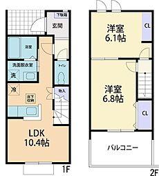 仮称)栃木県真岡市東郷テラスハウス 2階2LDKの間取り