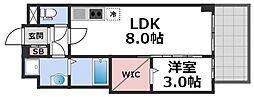 セレニテ谷九プリエ 3階1LDKの間取り