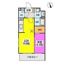 SOPHIA TOKUNAGAIII 2階1LDKの間取り