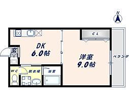 パレス高井田[1階]の間取り