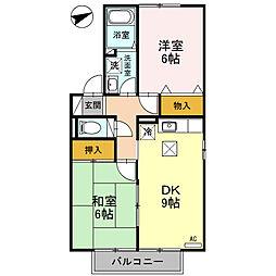 新潟県新潟市東区松園2丁目の賃貸アパートの間取り