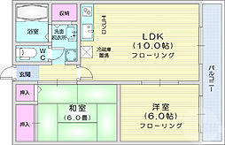 JR仙山線 東照宮駅 徒歩6分の賃貸マンション 4階2LDKの間取り