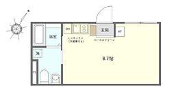 JR京浜東北・根岸線 鶯谷駅 徒歩7分の賃貸マンション 2階ワンルームの間取り