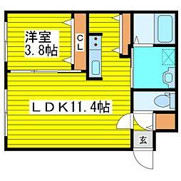 札幌市営東豊線 新道東駅 徒歩6分の賃貸マンション 1階1LDKの間取り