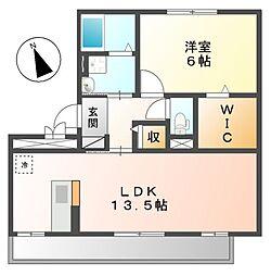 愛知県名古屋市中川区万場5の賃貸アパートの間取り