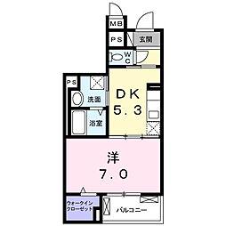 小田急小田原線 相武台前駅 徒歩9分の賃貸マンション 2階1DKの間取り