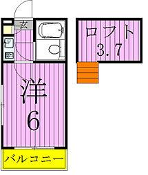 千葉県松戸市新松戸2の賃貸アパートの間取り