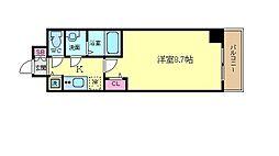 プレサンス京都鴨川 4階1Kの間取り