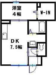 兵庫県神戸市西区白水 1丁目の賃貸アパートの間取り