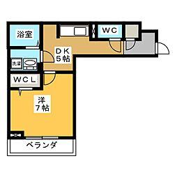 D-roomビーチルック 3階1Kの間取り