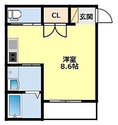 愛知環状鉄道 新豊田駅 徒歩11分の賃貸アパート 1階ワンルームの間取り