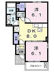 広島県福山市引野町の賃貸アパートの間取り
