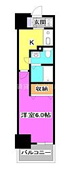 N~stage Kumegawa 5階1Kの間取り