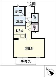 Y・クレール 1階1Kの間取り