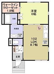 神奈川県川崎市幸区小向西町4丁目の賃貸アパートの間取り