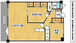 福岡県北九州市小倉南区蜷田若園2丁目の賃貸マンションの間取り