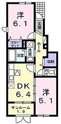 JR羽越本線 水原駅 徒歩21分の賃貸アパート 1階2DKの間取り