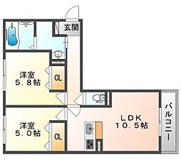 (仮)D-room今保 3階2LDKの間取り