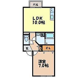 長崎県諫早市金谷町の賃貸アパートの間取り
