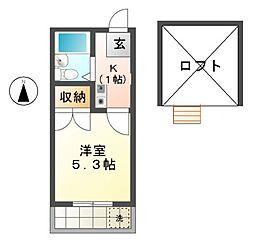 愛知県稲沢市小池3丁目の賃貸アパートの間取り