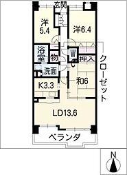 グランドール瓢箪山402号室[4階]の間取り