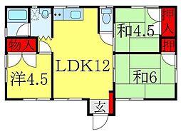 東京メトロ南北線 王子神谷駅 徒歩14分の賃貸マンション 1階3LDKの間取り