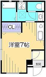 JR中央本線 国分寺駅 徒歩9分の賃貸アパート 1階ワンルームの間取り