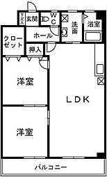 福岡県久留米市長門石1丁目の賃貸マンションの間取り