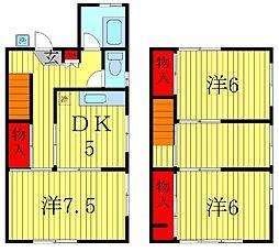[テラスハウス] 千葉県松戸市横須賀1丁目 の賃貸【/】の間取り