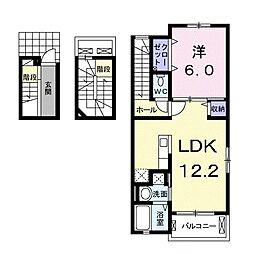 愛知県名古屋市緑区鳴海町字前之輪の賃貸アパートの間取り