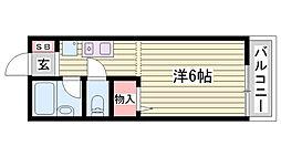 神鉄粟生線 広野ゴルフ場前駅 徒歩31分の賃貸アパート 2階ワンルームの間取り