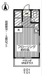 東京都府中市天神町3丁目の賃貸アパートの間取り