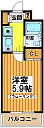 東京都渋谷区幡ヶ谷1の賃貸マンションの間取り
