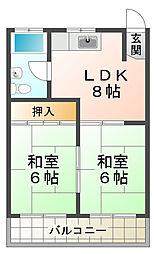兵庫県神戸市須磨区水野町の賃貸マンションの間取り