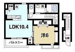 ソライロ ガーデン 2階1LDKの間取り