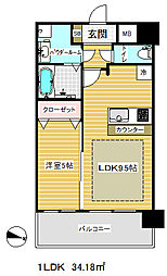 プレサンス三宮東フィール[12階]の間取り