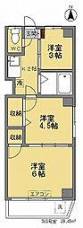 下井草サンハイツ[308号室]の間取り