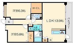 メゾンリシェス[4階]の間取り