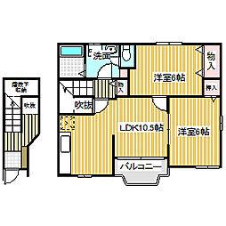 愛知県名古屋市中川区服部5丁目の賃貸アパートの間取り