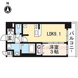 プレサンスTHEKYOTO澄華711 7階1LDKの間取り