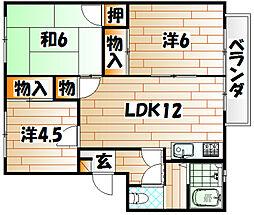 リゾット花房A棟[2階]の間取り