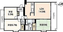 広島県広島市佐伯区利松3丁目の賃貸マンションの間取り
