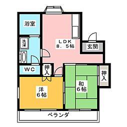 コーポ新西[1階]の間取り