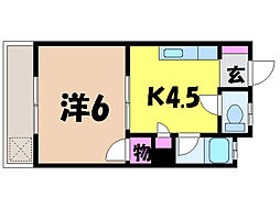 愛媛県松山市南江戸4丁目の賃貸アパートの間取り