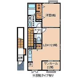 JR中央本線 下諏訪駅 徒歩18分の賃貸アパート 2階1LDKの間取り
