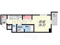 阪神本線 西宮駅 徒歩5分の賃貸マンション 8階1Kの間取り