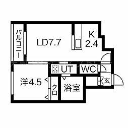 L・A円山公園 5階1LDKの間取り