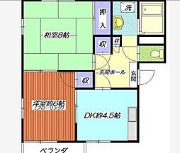 神奈川県横浜市南区中村町4丁目の賃貸アパートの間取り