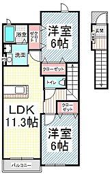 長野県長野市大字三才の賃貸アパートの間取り