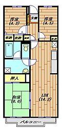 グランシャリオ千間台[4階]の間取り